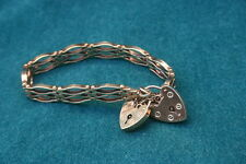 1911 Circa English 9K Gold Double Heart Locket Bracelet    MAGNIFICENT