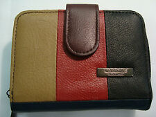Soft Leather Purse Wallet with Three Section for Note Change and Credit Cards