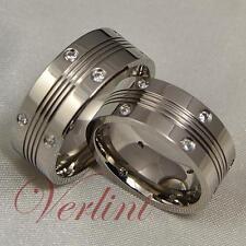 8MM Men's & Women's Titanium Rings Simulated Diamond Wedding Bands Matching Set