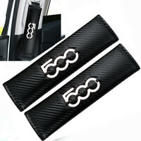 500 Logo WHITE x2 Seat Belt Covers Embroidered Carbon Fibre Pad For Fiat 500 595
