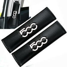 500 Logo WHITE x2 Seat Belt Covers Embroidered Carbon Fibre Pads Fiat 500 595 L