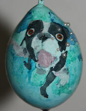 gourd Easter egg, yard art or Christmas ornament with dog swimming in pool