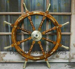 "36"" Handmade Wooden Steering Ship Wheel Nautical Ship Wheel Brass Anchor Wheel"