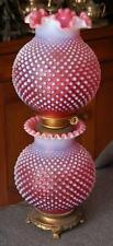 LOVELY FENTON CRANBERRY HOBNAIL OPALESCENT ELECTRIC GWTW GONE WITH THE WIND LAMP