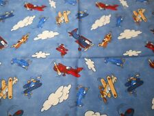 1/2 Yd Northcott Fabric Nanette Hilton #3664 Air Show Up Up & Away Planes Clouds