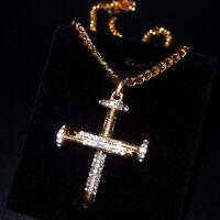 Gold Pendant Men Hip-Hop Jewelry Punk Women Necklace Choker Street Nail Crucifix