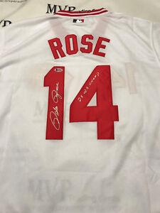 PETE ROSE Authentic Autograph Cincinnati Reds Jersey w/ 2x WS Champ BECKETT COA