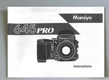 Mamiya 645 Pro Instruction Manual photocopy