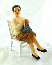 Dolls House Miniature 1:12 Scale People Resin Grandmother Sitting Knitting