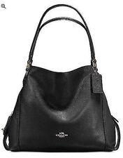 🌺🌹COACH Edie Shoulder Bag 31 in Polished Pebble Leather Black/Light Gold