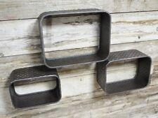 Lot de 3 industrielle/urban métal gris plancher plaque flottante boîte étagères