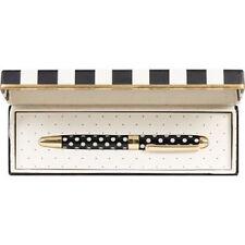 """NWT Kate Spade Gold Metal Black & White Polka Dot """"To Do List' Pen, Boxed"""