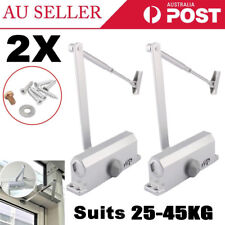 2Pcs Hydraulic Automatic Fire Rated Adjustable Door Closer Suits 25~45Kg Home AU