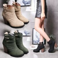 Womens Cut Out Ankle Boots Round Toe Block High Heel Back Zip Booties Plus Size