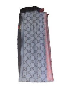 Gucci GG Logo Reversible Guccissima Jacquard Blue Wool Scarf