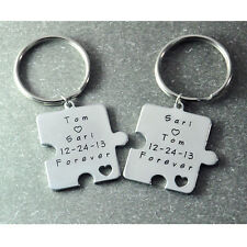 Personalized Puzzle Piece Keychain Set,Couple Keychain Set,Hand stamped Key ring