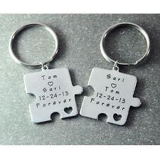 personalized puzzle piece keychain set