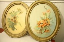"Vintage 1970s Set of 2 Oval Framed Paintings ""Daisies"" & ""Poppies"" Flowers"