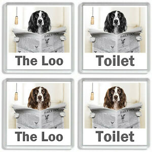 SPRINGER SPANIEL READING A NEWSPAPER ON THE LOO Novelty Toilet Door Signs