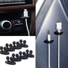 8Pcs Car Charger Line Headphone/USB Cable Car Clip Interior Accessories Black