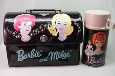 Vintage Rare 1965 Barbie and Midge Vinyl dome lunch box and thermos