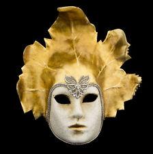 Masque de Venise Visage feuille dorée macramé en papier mâché  Luxe 2411