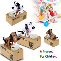 Hungry Eating Puppy Stealing Coin Money Box Dog Piggy Bank Storage Saving Box