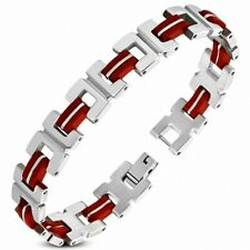 Bracelet With Link Alphabet C Stainless Steel With Rubber Red
