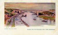 1904 ALONG THE PICTURESQUE NEW YORK SPEEDWAY*COPYRIGHT W R HEARST*POSTCARD