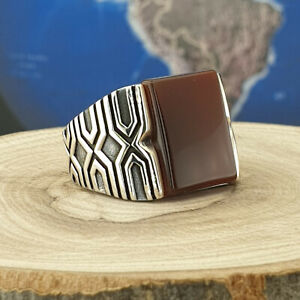 Solid 925 Sterling Silver Men Ring Red Agate Gemstone Handmade Size 8 - 13