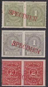 Uruguay 1884 American Bank Note Co SPECIMEN overprint pairs