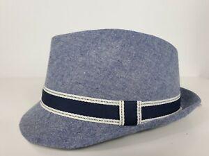Matalan Boys Summer Hat Trilby Kids Junior 7 - 13 Yrs Blue 100% Cotton