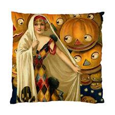 Vintage Halloween Pumpkins Pirate Skull Bone Cushion Pillow Case