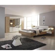 Schlafzimmer Set Mosbach Bett Schrank in Sanremo Eiche hell und weiß mit LED