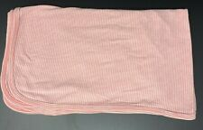 Carters Salmon Pink Coral Stripe Baby Blanket Swaddle Cotton Stretch Jersey Knit