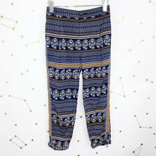 Anthropologie Pants Size 2 Blue Printed Skinny Trousers Aralia Cropped High Rise