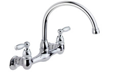 Chrome Kitchen Faucet Wall-Mount Two-Handle Swivel 2-Hole Installation High Arc