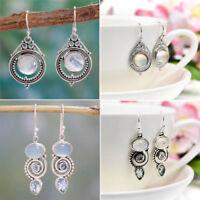 Boho 925 Silver Natural Moonstone Gemstone Drop Dangle Hooks Earrings Wholesale