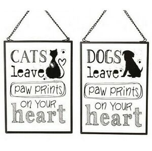 Dog Cat Lovers Glass Wall Hanging Sign Paw Prints on your Heart Memorial Gift