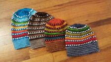 Set of 4 Children Kids Child NEW Alpaca Rainbow Dot Beanie Hats 2 Large 2 Small