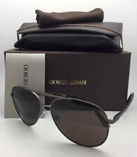 Giorgio Armani Sunglasses AR 6030 3122/73 Gunmetal Aviator With Brown Lenses
