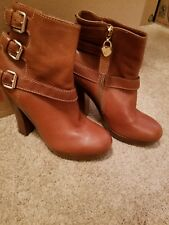 NEW Juicy Couture Platform Leather Ankle Boots In Brown Size 7.5M