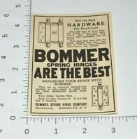 Bommer Spring Hinge Co Hardware Brooklyn 1927 Advertising 1920s Vintage Print Ad