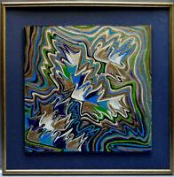 Ancien tableau composition mixte abstraite aux cygnes constructivisme signé