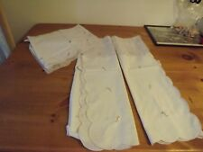 3 PC CAFE TIER SET W/ VALANCE WHITE PURPLE EMBROIDERED FLOWERS PART SHEER