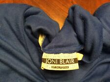 Vintage 1980s Knit Jersey Dress Blue Joni Blair Size 5 Shoulder Pads