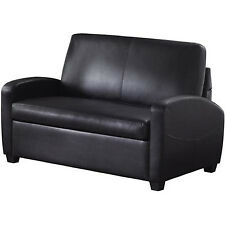 Black Leather Convertible Sofa Sleeper Couch Loveseat Guest Bed Twin Mattress