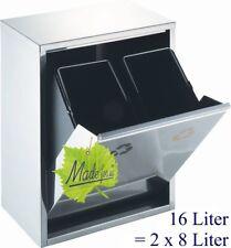 16 l. Abfallsammler Mülltrennung Mülleimer Abfalleimer 2x8 L, orig. Made for us®
