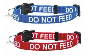 Cat Collar DO NOT FEED In Red Or Blue, Safety Release & Wildlife Bell Included