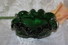 Murano Glass Green Cased Bowl/Dish/Ashtray controlled bubbles Vintage